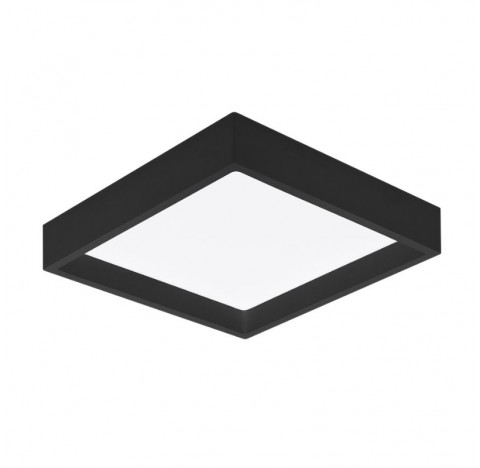 Plafon de Sobrepor LED Deep Recuado Quadrado 4000K Neutro 24W Bivolt 26,2x26,2cm Policarbonato Preto | Stella STH20904PTO/40