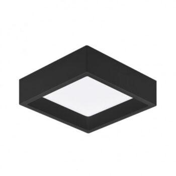 Plafon de Sobrepor LED Deep Recuado Quadrado 4000K Neutro 12W Bivolt 16,7x16,7cm Policarbonato Preto   Stella STH20902PTO/40
