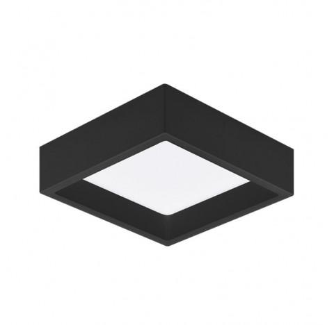 Plafon de Sobrepor LED Deep Recuado Quadrado 4000K Neutro 12W Bivolt 16,7x16,7cm Policarbonato Preto | Stella STH20902PTO/40
