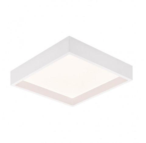 Plafon de Sobrepor LED Deep Recuado Quadrado 3000K Quente 24W Bivolt 25,3x25,3cm Policarbonato Branco | Stella STH20904BR/30
