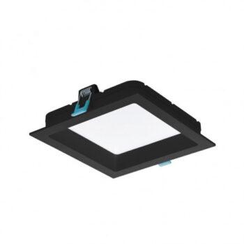 Painel/Luminária de Embutir LED Deep Recuado Quadrado 3000K Quente 18W Bivolt 20,2x20,2cm Policarbonato Preto   Stella STH8903PTO/30