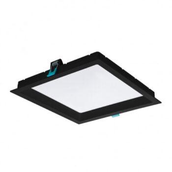 Painel/Luminária de Embutir LED Deep Recuado Quadrado 3000K Quente 24W Bivolt 26,2x26,2cm Policarbonato Preto | Stella STH8904PTO/30