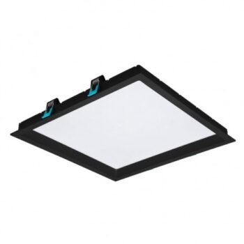 Painel/Luminária de Embutir LED Deep Recuado Quadrado 3000K Quente 30W Bivolt 35x35cm Policarbonato Preto   Stella STH8905PTO/30