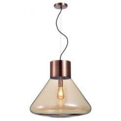 Pendente Gamboa Cônico 47xØ53cm Metal Cobre Escovado e Vidro Champanhe | Bella Iluminação PD018L