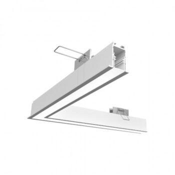 Perfil de Embutir Fit 15 Linear Junção Direita/Esquerda 25x25cm Alumínio e Acrílico - Newline PA15000