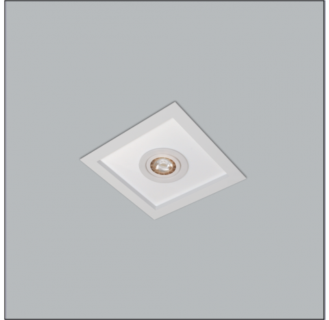 Luminária de Embutir Magnum Mix Quadrado 2 Bulbo 1 PAR20 32x32cm Metal e Acrílico - Usina 3601/32