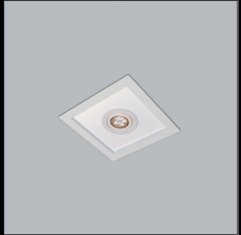 Luminária de Embutir Magnum Mix Quadrado 2 Bulbo 1 PAR16/Dicroica 32x32cm Metal e Acrílico - Usina 3602/32
