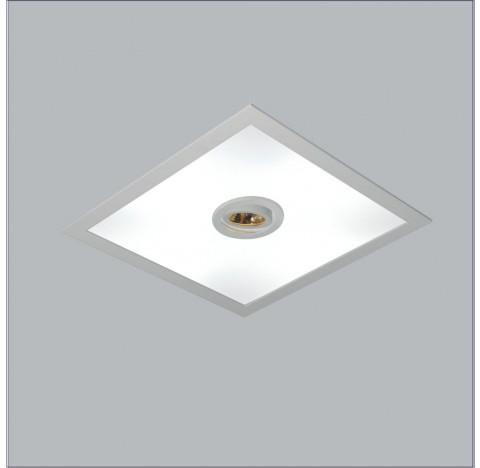 Luminária de Embutir Ruler Mix Quadrado 4 Bulbo 1 PAR20 E27 50x50cm Metal e Acrílico - Usina 3701/50