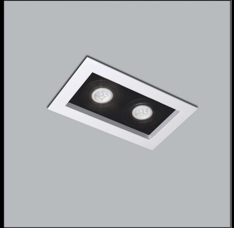 Spot de Embutir Premium Retangular Duplo/Finestra AR70 32x17cm Metal - Usina 4321/32