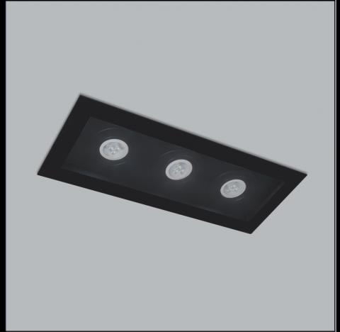 Spot de Embutir Premium Retangular Triplo PAR30 41x17cm Metal - Usina 4320/41
