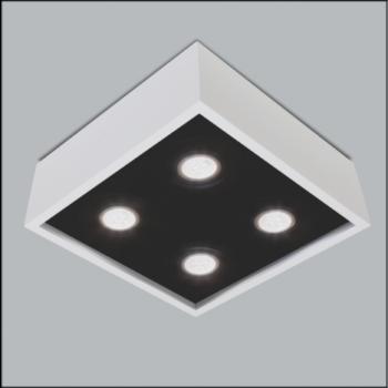 Spot de Sobrepor Premium Quadrado Quádruplo PAR16/Dicroica 8,5x20x20cm Metal - Usina 4500/25