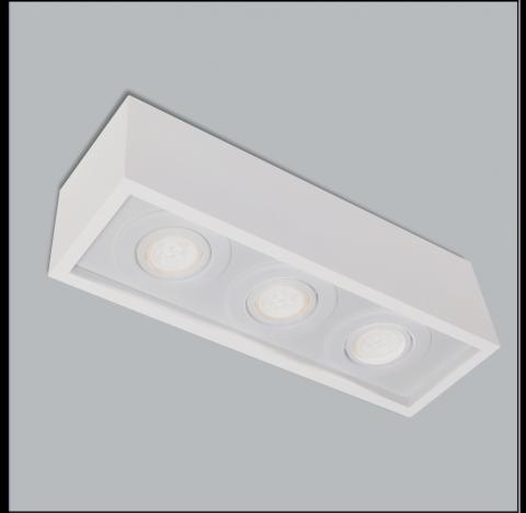 Spot de Sobrepor Premium Retangular Triplo PAR16/Dicroica 8,5x34,5x11,5cm Metal - Usina 4510/35