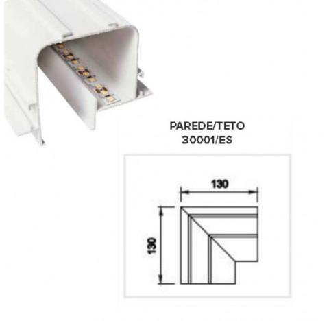 Perfil de Embutir Tecno Junção Teto/Teto 13x13cm Metal e Acrílico - Usina 30001/ES