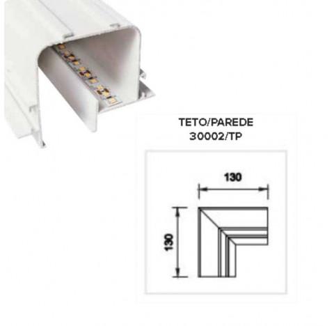Perfil de Embutir Tecno Junção Teto/Parede 13x13cm Metal e Acrílico - Usina 30002/TP