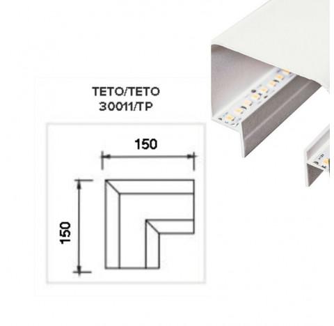 Perfil de Embutir No Frame Infinity Junção Teto/Teto 15x15cm Metal e Acrílico - Usina 30011/TT