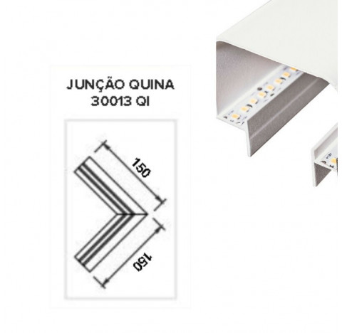 Perfil de Embutir No Frame Infinity Junção Quina 15x15cm Metal e Acrílico - Usina 30013/QI