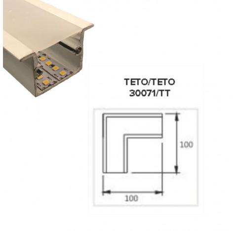 Perfil de Embutir Nazca Junção Teto/Teto 15x15cm Metal e Acrílico - Usina 30071/TT