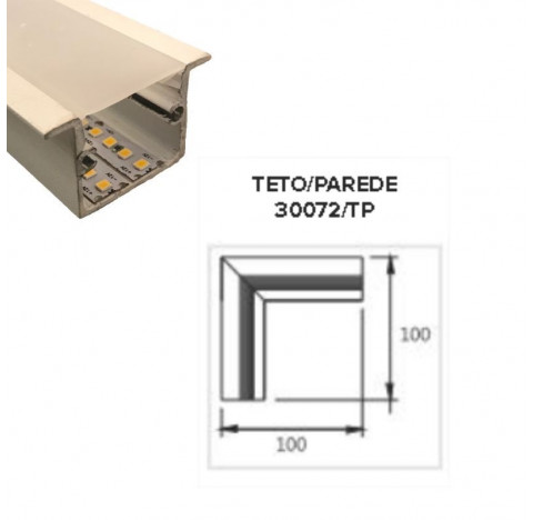 Perfil de Embutir Nazca Junção Teto/Parede 15x15cm Metal e Acrílico - Usina 30072/TP