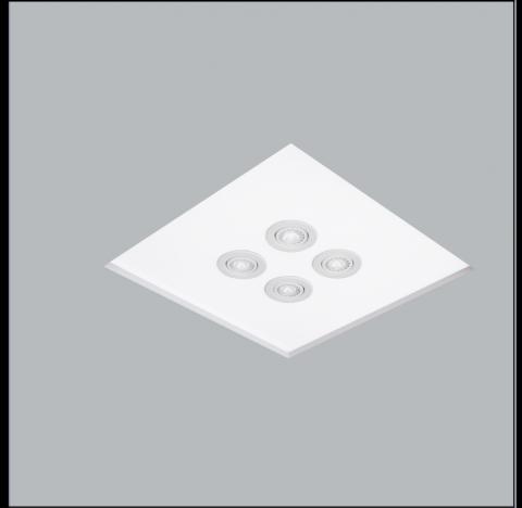 Luminária de Embutir No Frame Mix Quadrado 4 Bulbo 4 PAR20 47x47cm Metal e Acrílico - Usina 30081/54