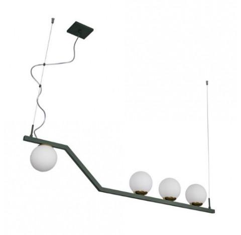 Pendente Zig Retangular 110cm Metal e Vidro - Usina 16830/4