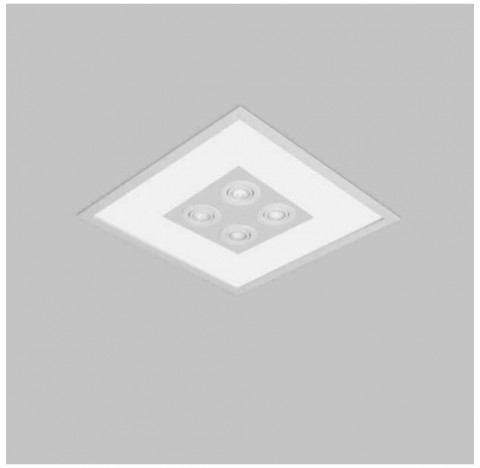 Luminária de Embutir Magnum Mix Quadrado 4 Bulbo 4 PAR16/Dicroica 50x50cm Metal e Acrílico - Usina 3602/51
