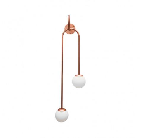Arandela Pêndulo Duplo 92x26x28cm Metal e Vidro - Usina 16495/70