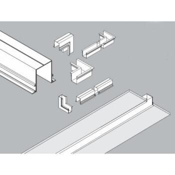 "Spot/Plafon de Sobrepor p/ Perfil de Embutir ""C"" Jotha Triplo Mini Dicroica 30x4,5cm Metal - Usina 30064/3"