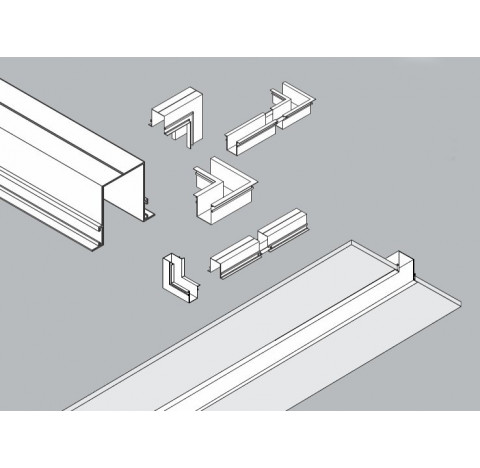 "Perfil de Embutir ""C"" Jotha Linear 125x7,3cm Metal - Usina 30060/125"