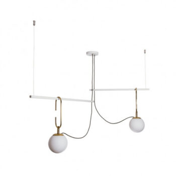 Pendente Quiron 59x59cm Metal e Vidro - Usina 16606/2